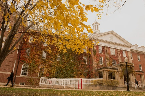 A picture of fell hall viewed from the ISU quad during fall